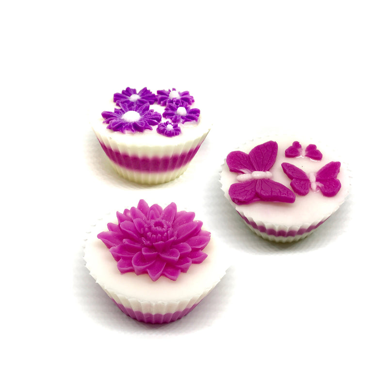 Pink Garden - Three Cupcakes Gift Box Set - SoapyMania
