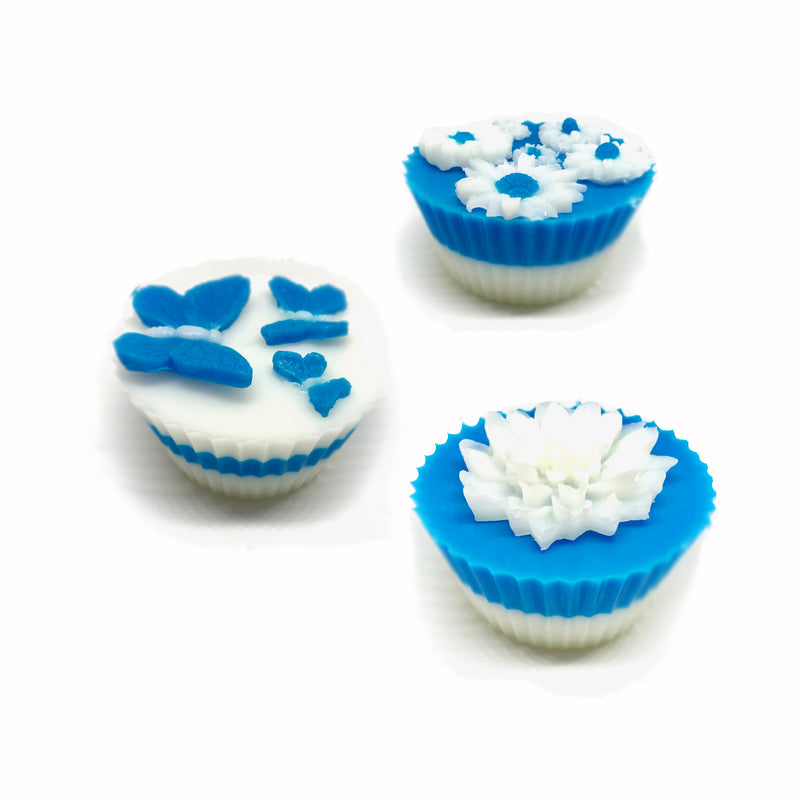 Blue Garden - Three Cupcakes Gift Box Set - SoapyMania