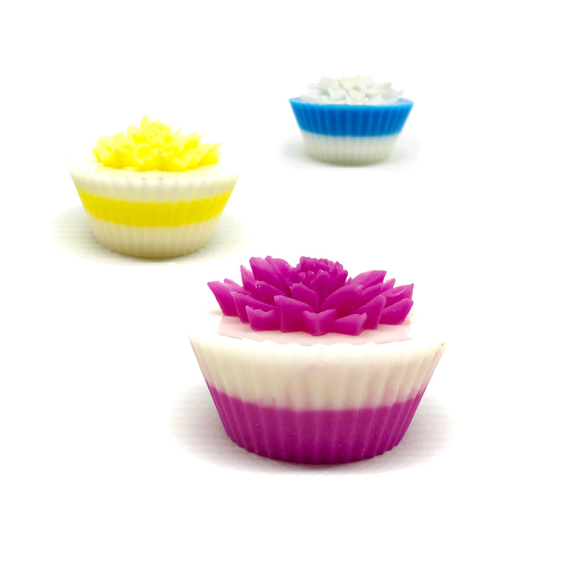 Dahlia Bouquet - Three Cupcakes Gift Box Set - SoapyMania
