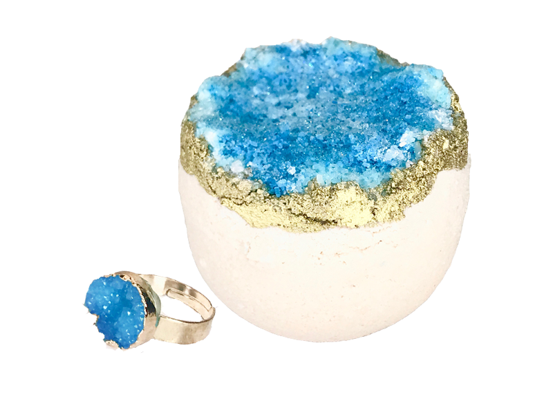 Apatite Druzy Gemstone Ring Bath Bomb
