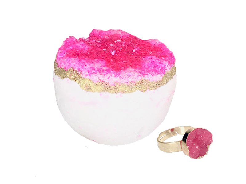Amethyst Druzy Gemstone Ring Bath Bomb