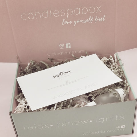 wicked flame resilience box candle + spa box