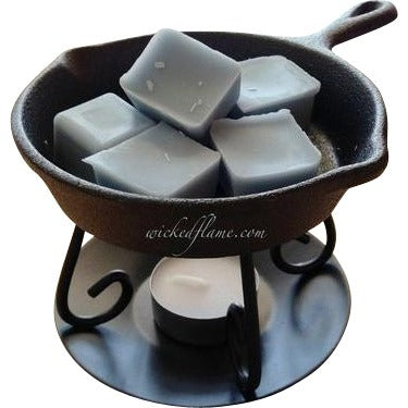 tart warmer and wax melts in cute iron skillet