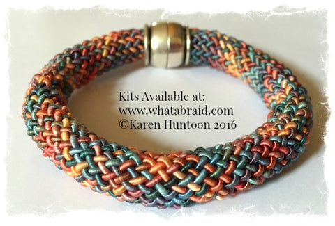 "*20-Strand ""Round"" Bracelet - Kumihimo Rayon Gimp - Click for 3 colorways."
