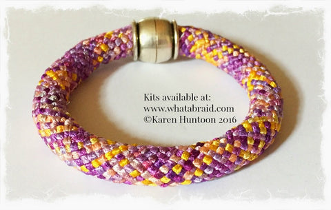 "**20-Strand ""Round"" Bracelet - Kumihimo Rayon Ribbon - Click for 5 Color ways."