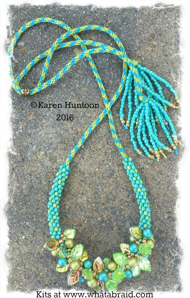 *****Beaded Kumihimo Bauble & Leaf Necklace Kit - Aqua Luster
