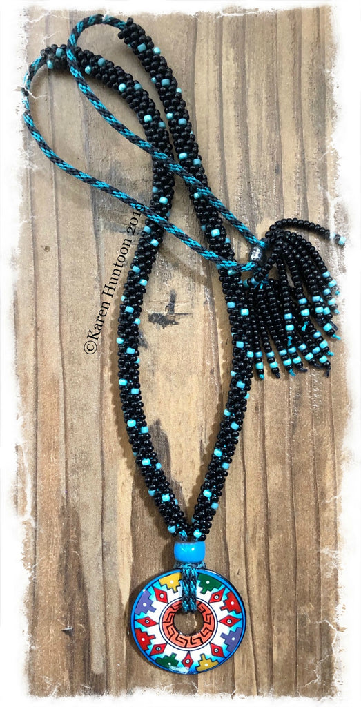 "*****Kumihimo ""Spot"" Beaded Necklace with Painted Peruvian Pendant (Aztec-Blue)"