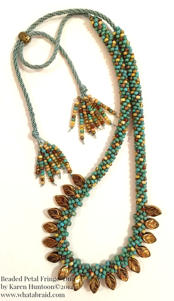 Beaded Petal Fringe Necklace Kit  with Adjustable Closure- Bronze
