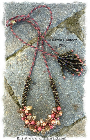 *****Beaded Kumihimo Bauble & Leaf Necklace Kit-Bronze