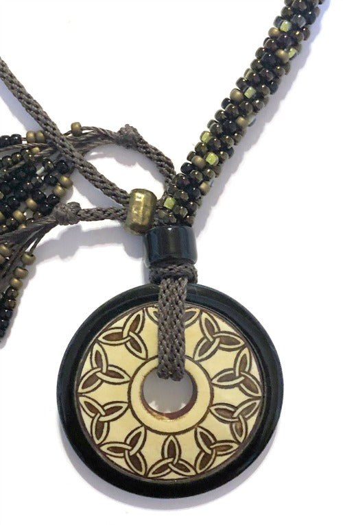 ****Beaded Necklace with Celtic Donut Pendant & Adjustable Closure - Black