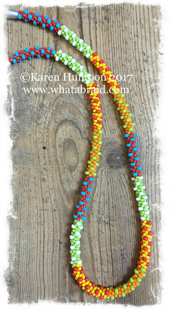 Kumihimo Lots of Dots Beaded Necklace - Brights