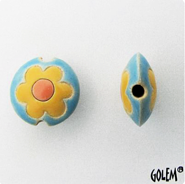Golem Flower Lentil Bead, 17.5 mm - Aqua & Yellow