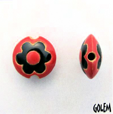Golem Flower Lentil Bead, 17.5 mm - Black & Red