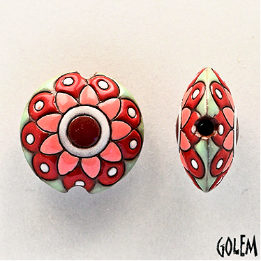 Golem Flower Lentil Bead, 23 mm - Melon Brick