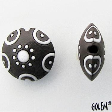 Golem Circle & Dots Lentil Bead, 23 mm - Dk & White