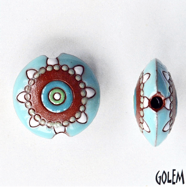 Golem Boho Lentil Bead, 23 mm - Lt Blue & Terracotta