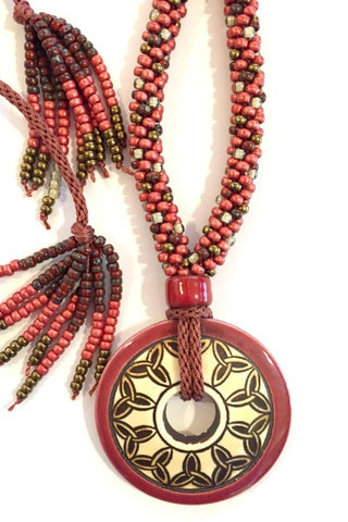****Beaded Necklace with Celtic Donut Pendant & Adjustable Closure - Red