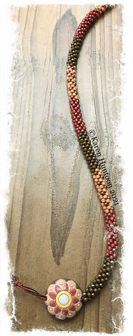 """Beaded 8/0 Colorblock Spot Necklace with Golem Lentil Pendant""- Cognac Melon Flower"