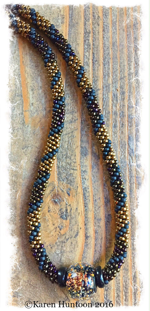 Handmade Kumihimo Beaded Color Block Swirl with Boro Glass Focal Necklace-Bronze