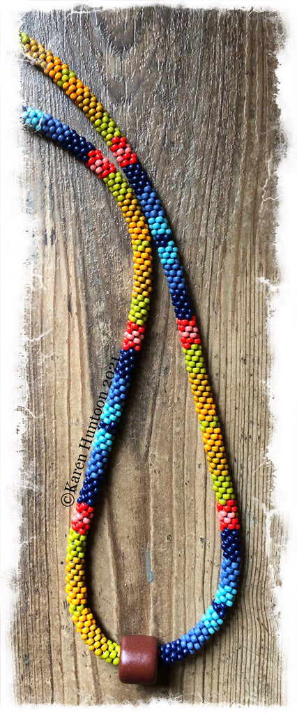 """Beaded 8/0 Sedona Colorblock"" Kumihimo Necklace - Sedona w/ Focal"