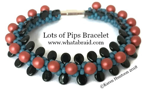 ***Lots of Pips Kumihimo Bracelet Kit - Denim/Black/Sangria