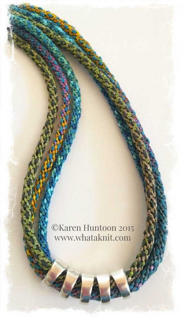 *Three Braid Necklace Kit with Ribbon & Shimmering Yarn- Blues