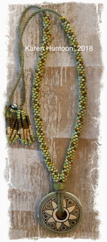 ****Beaded Necklace with Flower Donut Pendant & Adjustable Closure - Chartreuse