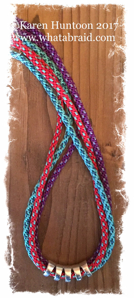 ***Triple Fun Braided Necklace Kit with Curved Focal - Red/Turq/Purple