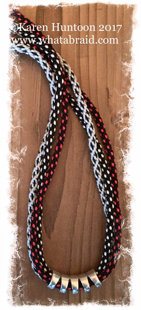 ***Triple Fun Braided Necklace Kit with Curved Focal - Red/Black/White/Silver