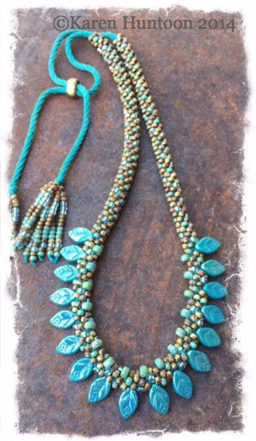 *****Beaded Petal Fringe Necklace Kit  with Adjustable Closure- Turquoise Luster