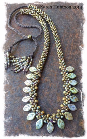 Handmade Beaded Petal Fringe Necklace - Opaque Luster