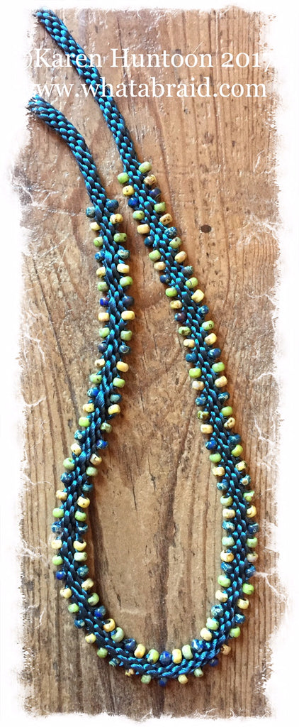 Three Color Edge Bead Necklace Kit-Teal