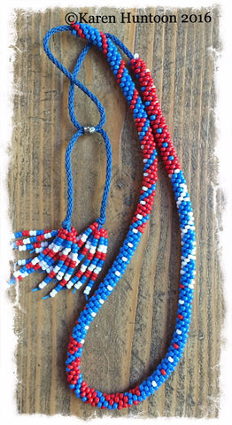 Handmade Painting with Beads Necklace with Adjustable Closure - Red, White, Blue