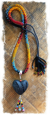 "******Karen's ""FUSION-5"" Kumihimo 8/O  Beaded Necklace with Black Pottery Heart & Adjustable Closure - Brick 25"""