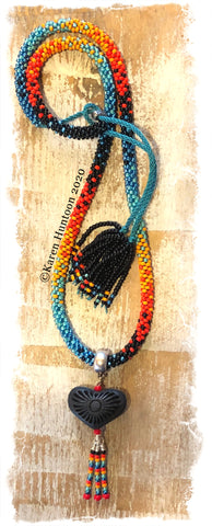 "******Karen's ""FUSION-5"" Kumihimo 8/O  Beaded Necklace with Oaxaca Black Clay Pottery Heart and Adjustable Closure"