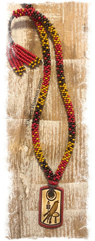 "******Karen's ""FUSION-3"" Beaded Necklace with Porcelain Bird Pendant & Adjustable Closure - Mustard & Brick"