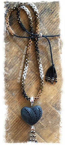 "******Karen's ""FUSION-5"" Kumihimo 8/O  Beaded Necklace with Black Pottery Heart & Adjustable Closure - Muscat 25"""