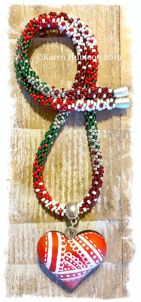"******Karen's ""FUSION-5"" Kumihimo 8/O Holiday Necklace with Magnetic Clasp & Handpainted  San Miguel de Allende heart"