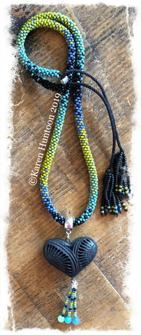 "******Karen's ""FUSION-5"" Kumihimo 8/O  Beaded Necklace with Black Pottery Heart & Adjustable Closure - Semiglazed  25"""
