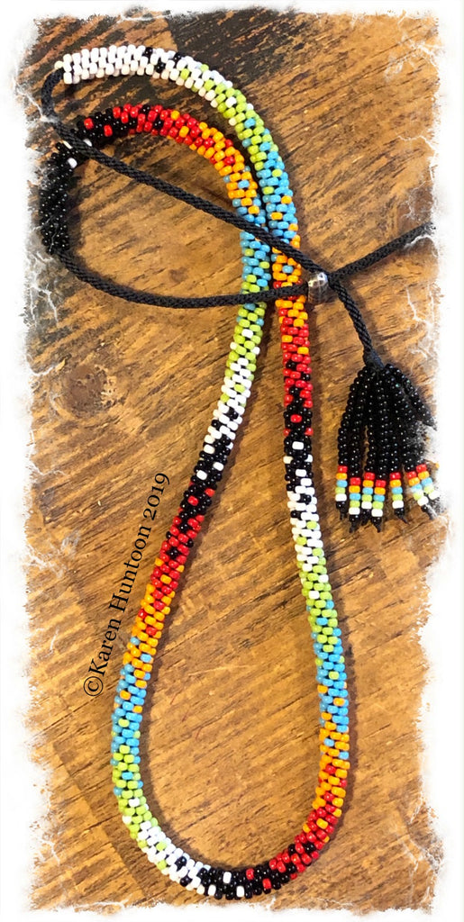 "******Karen's ""FUSION-6"" Kumihimo 8/O  Beaded Necklace with Adjustable Closure - B & W  22 1/2"""