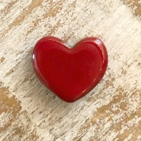 Porcelain Heart Bead - Red