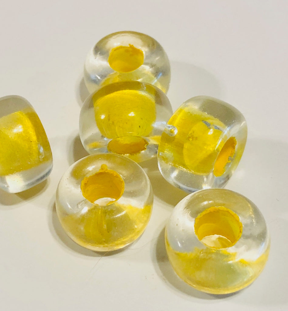 Glass Bead, Large Hole - Yellow-Lined