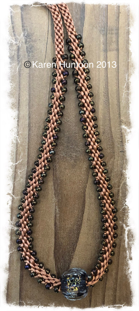 Edge Bead Necklace with Routa Bead Focal Kit  - Caramel