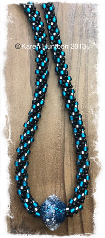 ****Beaded Necklace with Bicone Boro Glass Focal - Teal