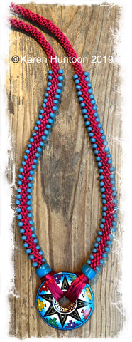 ******Edge Bead Necklace Kit with Handpainted Peruvian Disk - Star