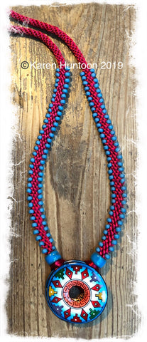 ******Edge Bead Necklace Kit with Handpainted Peruvian Disk - Aztec