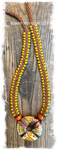 ******Edge Bead Necklace Kit with Handpainted Peruvian Disk - Camel & Mustard