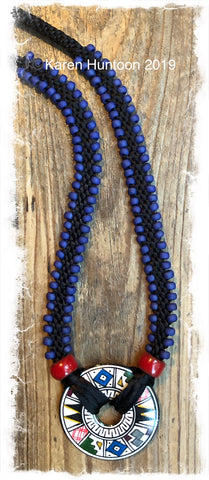 ******Edge Bead Necklace Kit with Handpainted Peruvian Disk - Black with Matte Cobalt