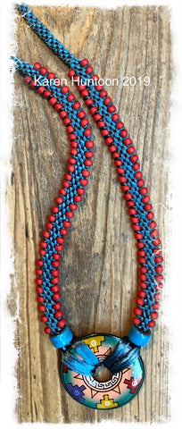 ******Edge Bead Necklace Kit with Handpainted Peruvian Disk - Teal & Brick
