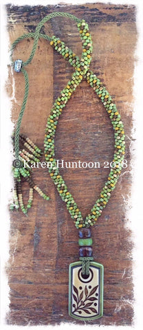 ****Beaded Necklace with Porcelain Leaves Pendant & Adjustable Closure